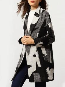 Black Grey Lapel Houndstooth Woolen Coat