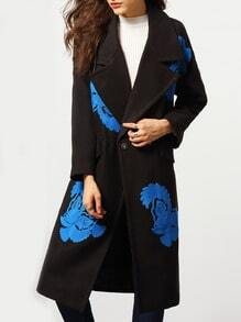 Black Lapel Single Button Embroidered Coat