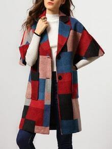 Colour Lapel Half Sleeve Pockets Woolen Coat