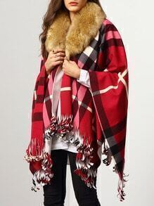 Red Faux Fur Collar Plaid Tassel Cape