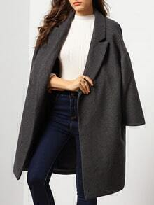 Grey Lapel Long Sleeve Woolen Loose Coat