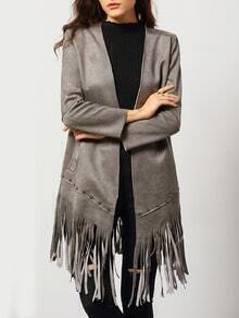 Grey Long Sleeve Bead Tassel Coat