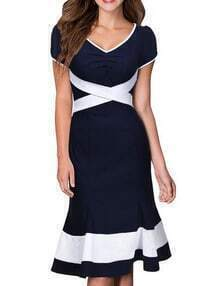 Navy V Neck Short Sleeve Ruffle Slim Dress
