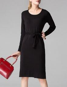 Black Round Neck Tie-Waist Split Dress
