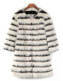 Beige Black Striped Loose Faux Fur Coat