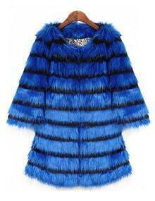 Blue Black Striped Loose Faux Fur Coat