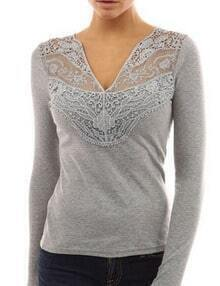 Grey V Neck Lace Slim T-Shirt