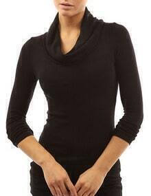 Black Cowl Neck Long Sleeve Slim T-Shirt