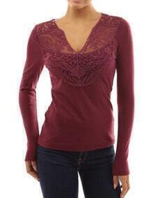 Burgundy V Neck Lace Slim T-Shirt