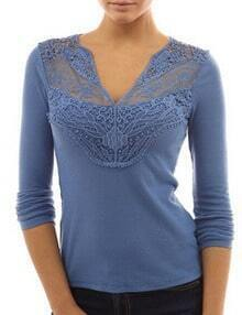 Blue V Neck Lace Slim T-Shirt