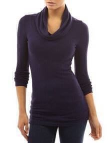 Purple Cowl Neck Long Sleeve Slim T-Shirt