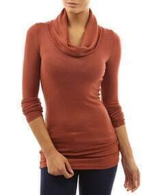 Brown Cowl Neck Long Sleeve Slim T-Shirt