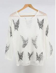 White Round Neck Butterfly Print Knitwear