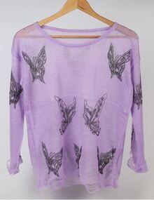 Purple Round Neck Butterfly Print Knitwear