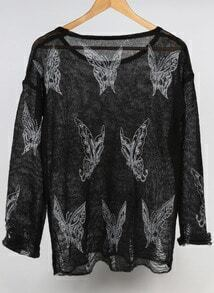Black Round Neck Butterfly Print Knitwear