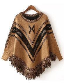 Khaki Round Neck Geometric Print Tassel Knitwear