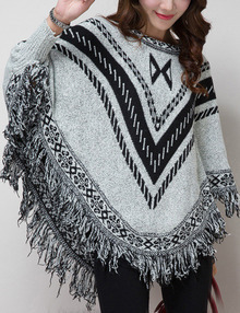 Light Grey Round Neck Geometric Print Tassel Knitwear