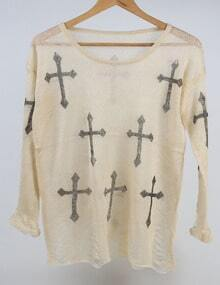 Apricot Round Neck Cross Print Knitwear