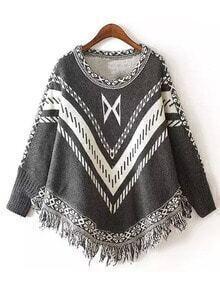 Grey Round Neck Geometric Print Tassel Knitwear