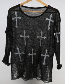 Black Round Neck Cross Print Knitwear
