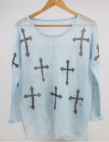 Blue Black Round Neck Cross Print Knitwear