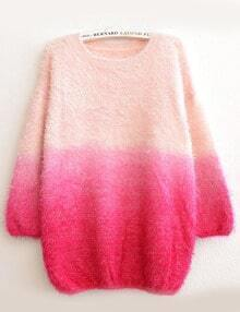 Red Ombre Round Neck Loose Mohair Sweater