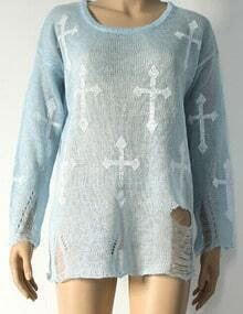 Blue White Round Neck Cross Print Knitwear