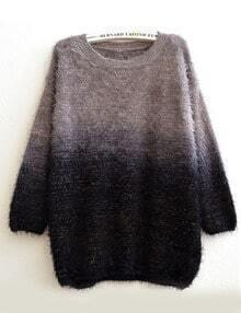 Grey Ombre Round Neck Loose Mohair Sweater