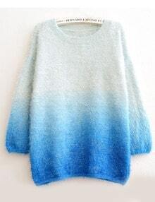 Blue Ombre Round Neck Loose Mohair Sweater