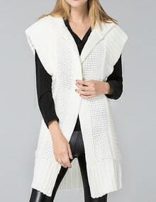 White Short Sleeve Long Sweater Coat