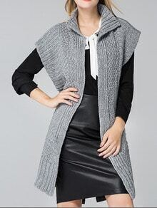 Grey Short Sleeve Long Sweater Coat