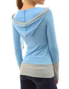 Sky Blue Hooded Long Sleeve Slim Sweatshirt