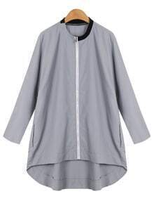 Grey Long Sleeve Zipper Dip Hem Blouse