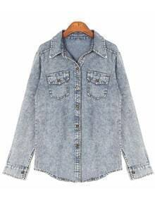 Light Blue Lapel Long Sleeve Pockets Denim Blouse