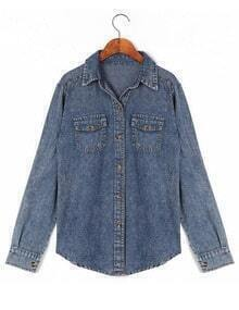 Blue Lapel Long Sleeve Pockets Denim Blouse