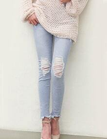 Light Blue Ripped Slim Denim Pant