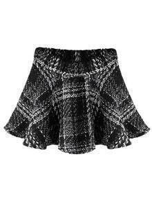 Black High Waist Plaid Woolen Skirt