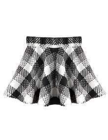 White High Waist Plaid Woolen Skirt