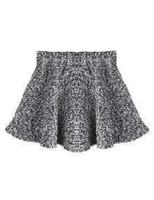 Black White High Waist Plaid Woolen Skirt