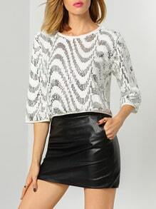 White Round Neck Sequined Blouse