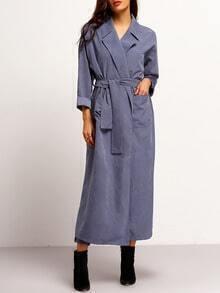 Blue Long Sleeve Lapel Pockets Coat