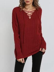Red Long Sleeve Lace Up Sweater