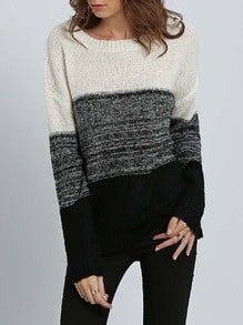 White Black Long Sleeve Color Block Sweater