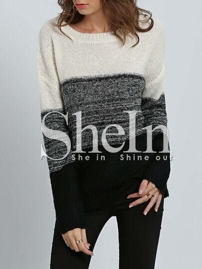 Jersey manga larga color combinado -blanco negro