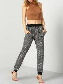 Black Tie-waist Vintage Print Pant
