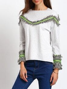 Grey Round Neck Fringe Sweatshirt