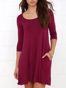 Burgundy Long Sleeve Pockets Casual Dress