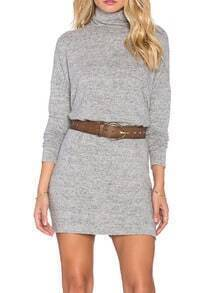 Grey High Neck Casual Dress