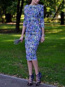 Blue V Back Striped Floral Sheath Dress