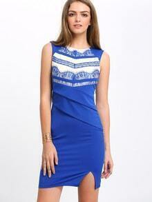 Blue Sleeveless Contrast Mesh Yoke Cut Out Sheath Dress